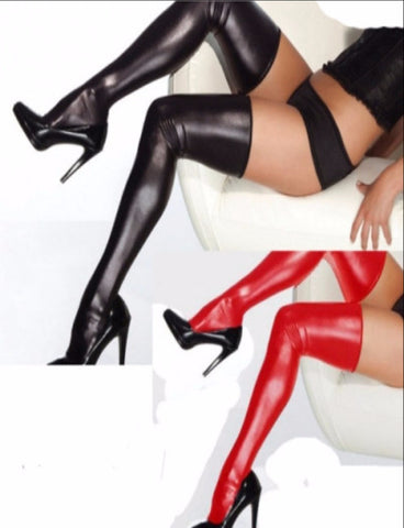 Leather stockings with elastic band