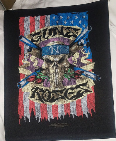 Guns N Roses Skull and Flag Back Patch Large patch