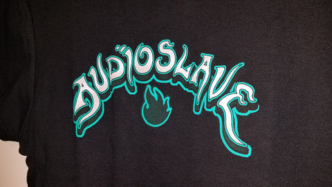 Audioslave Logo Black/Green Glitter Shirt, Licensed Rock Band T-Shirt