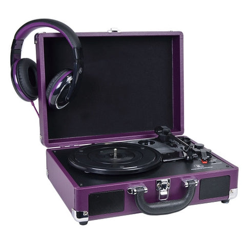 INNOVATIVE  ITVS-550BBT-PP Bluetooth Suitcase Turntables (Purple) color