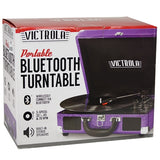 Victrola 3-Speed Vintage Bluetooth Suitcase Turntable Purple Glitter VSC-550BT-GPR