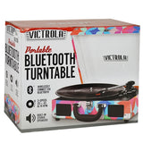 Victrola 3-Speed Vintage Bluetooth Suitcase Turntable Pink Geo Camo VSC-550BT-P3