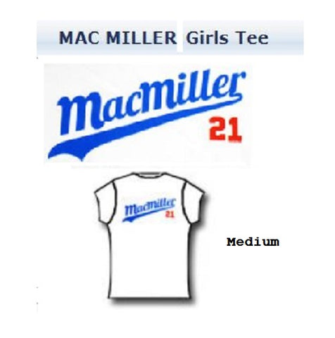 Mac Miller T-Shirt Rare N.O.S. Baseball script Women junior Size Medium Licensed Merchandise