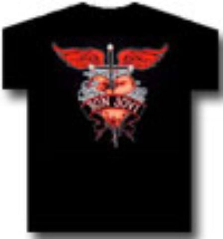 Rock T-Shirts - BON JOVI  T-Shirt Hearts Graphic Officially Licensed Band Apparel
