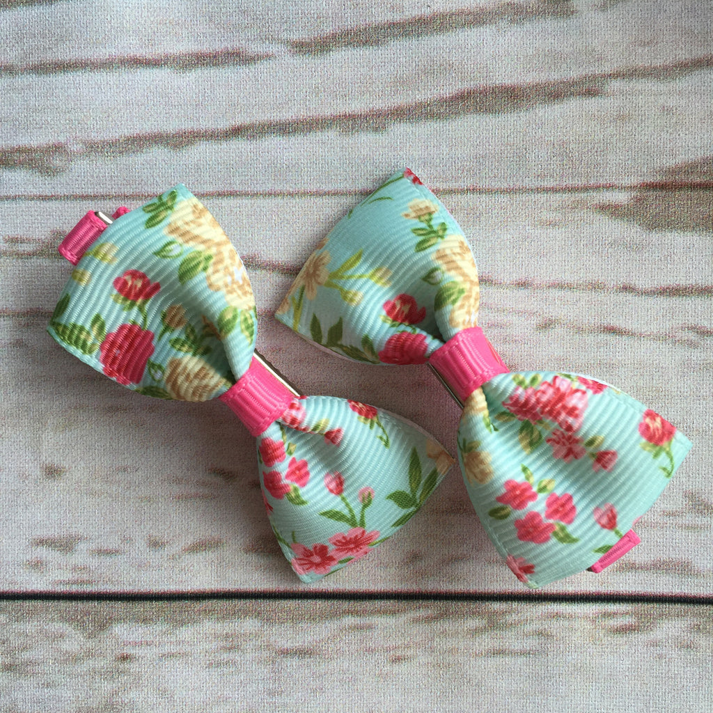 Baby Classic Bow Clips - Floral Island