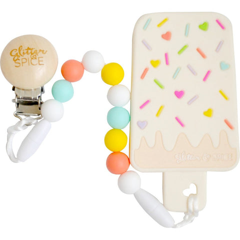 Ice Cream Bar Teether with Teether Clip