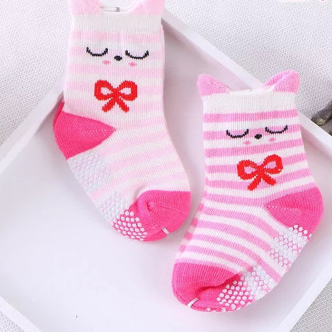 Cats in Bows Anti-Skid Socks - 2 Pairs