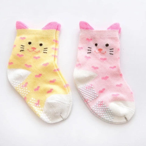 Cats in Pastel Heart Anti-Skid Socks - 2 Pairs