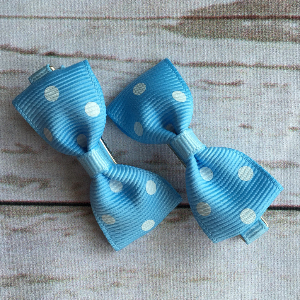 Baby Classic Bow Clips - Polka Dot Blue