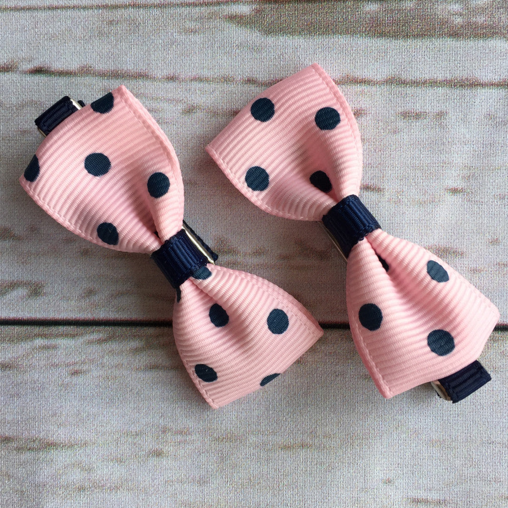 Baby Classic Bow Clips - Polka Dot Pink & Navy
