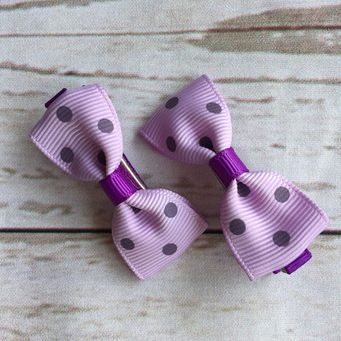 Baby Classic Bow Clips - Polka Dot Purple