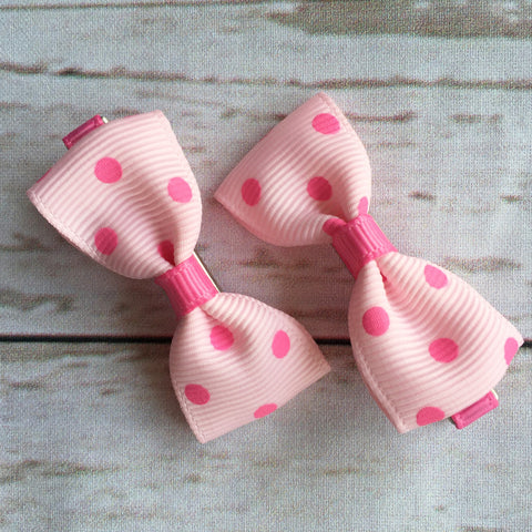 Baby Classic Bow Clips - Polka Dot Pink