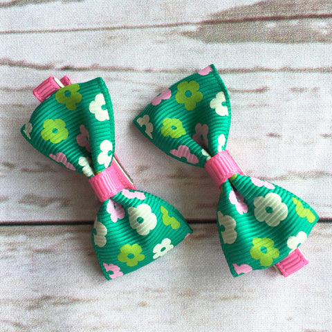 Baby Classic Bow Clips - Floral Green