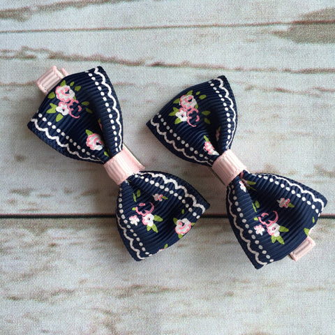 Baby Classic Bow Clips - Vintage Navy Blue