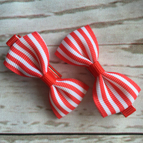 Baby Classic Bow Clips - Stripes in Red