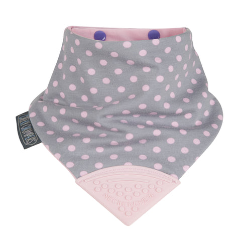 Neckerchew Baby Bib - Polka Dot Pink