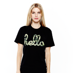 Hello Camo (Adult) Black Poly-Cotton Tee