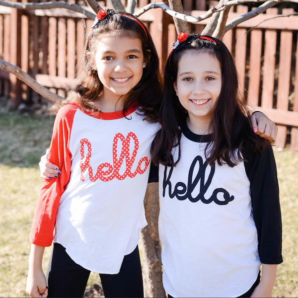 Hello Minnie (Kids) Red 3/4 Sleeve Raglan Tee