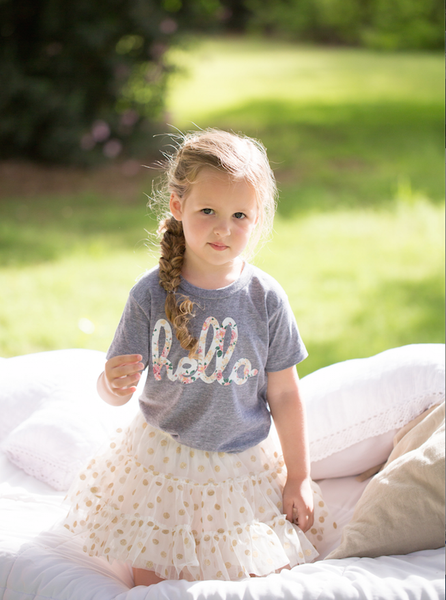 Hello Tri-Floral (Kids) Grey Tri-Blend Tee