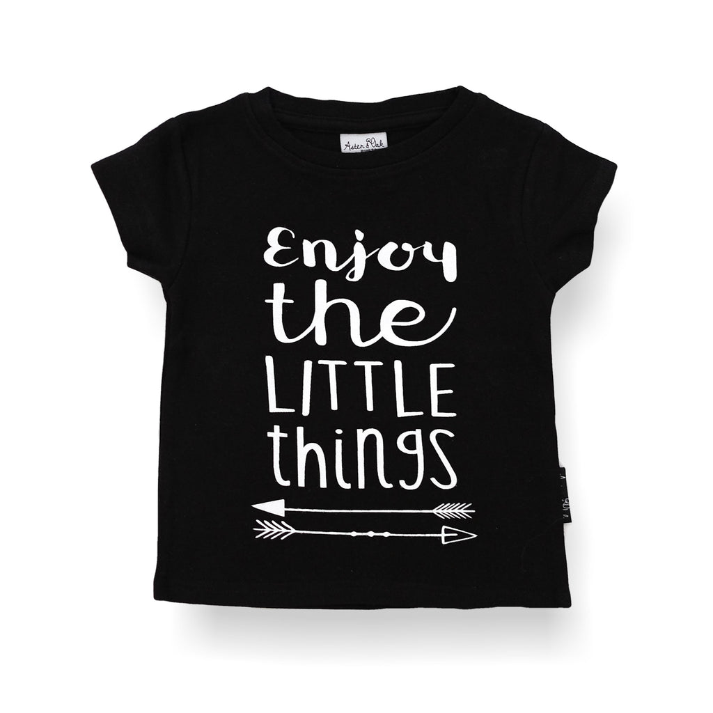 Organic Cotton T-Shirt 'Enjoy the Little Things' Black