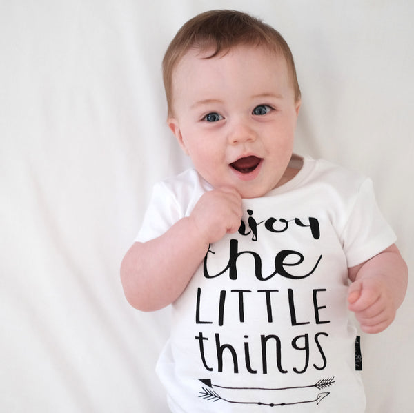 Organic Cotton T-Shirt 'Enjoy the Little Things' White