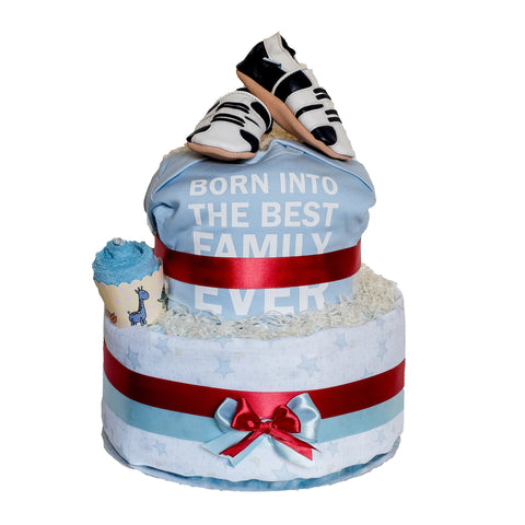 """Born into the Best Family Ever"" Diaper Cake (baby boy) - Baby Boy - Just Hatched Diaper Cakes"