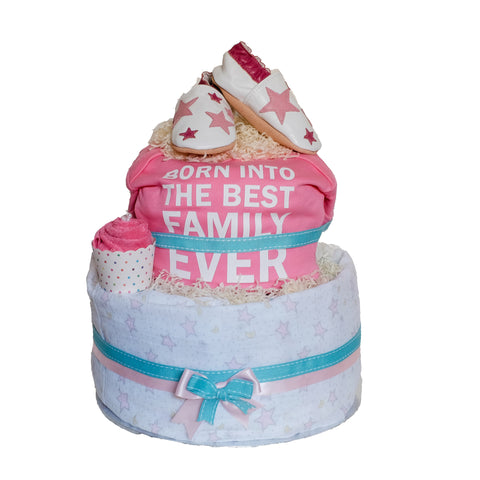 """Born into the Best Family Ever"" Diaper Cake (baby girl) - Baby Girl - Just Hatched Diaper Cakes"