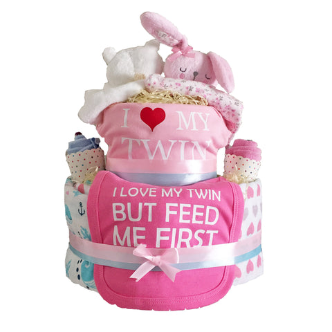 """I Love My Twin"" Diaper Cake - Twins - Just Hatched Diaper Cakes"