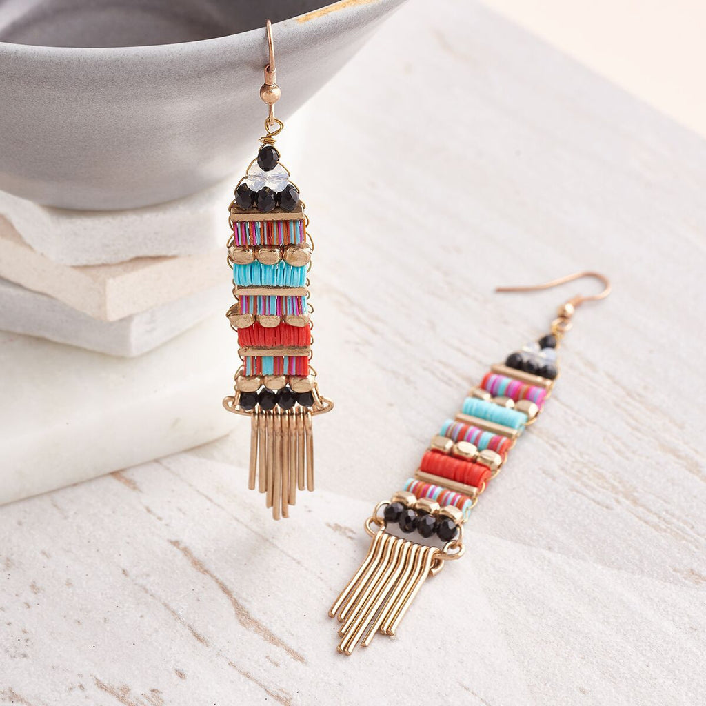 Boho style long drop earrings by Suzy Q Designs