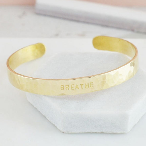 Breathe Inspirational Message Hammered Cuff Bangle