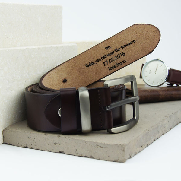 Personalised Men's leather belt in brown by Suzy Q Designs