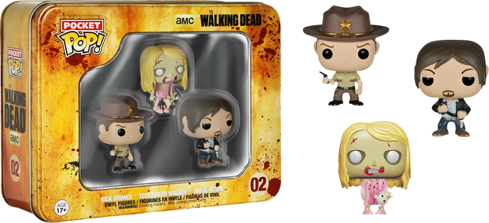 The Walking Dead - Daryl, Rick & Walker Pocket Pop! 3-Pack Tin