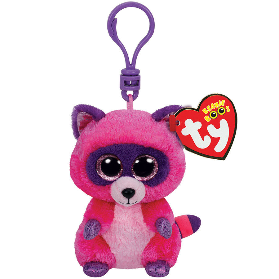 Ty Beanie Boos Clips - Roxie the pink/purple raccoon