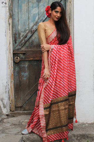 The Navrang Saree - Tie Dye Leheriya (Poppy Red)