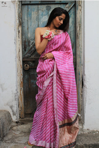 The Navrang Saree - Tie Dye Leheriya (Bubblegum Pink)