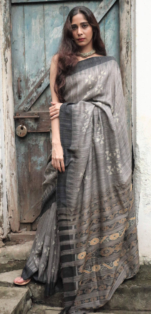Black/Grey Hand Block Printed Tussar Saree With Ikat Pallu