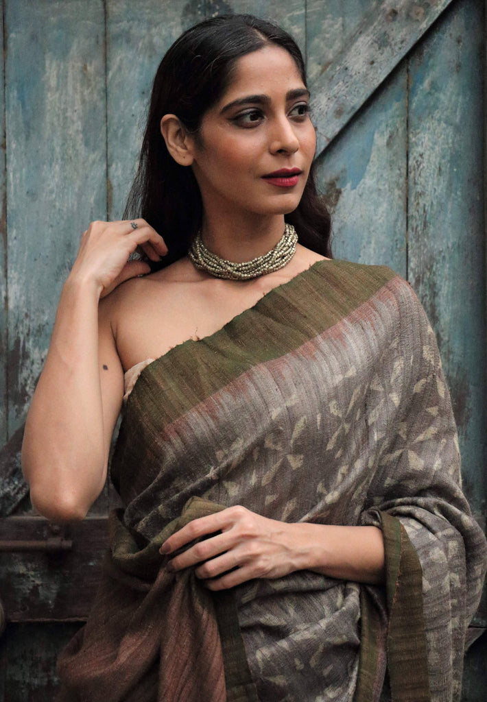 Grey/Green Tussar Silk Block Print Saree