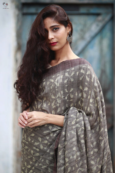 Grey Tussar Silk Block Print Saree