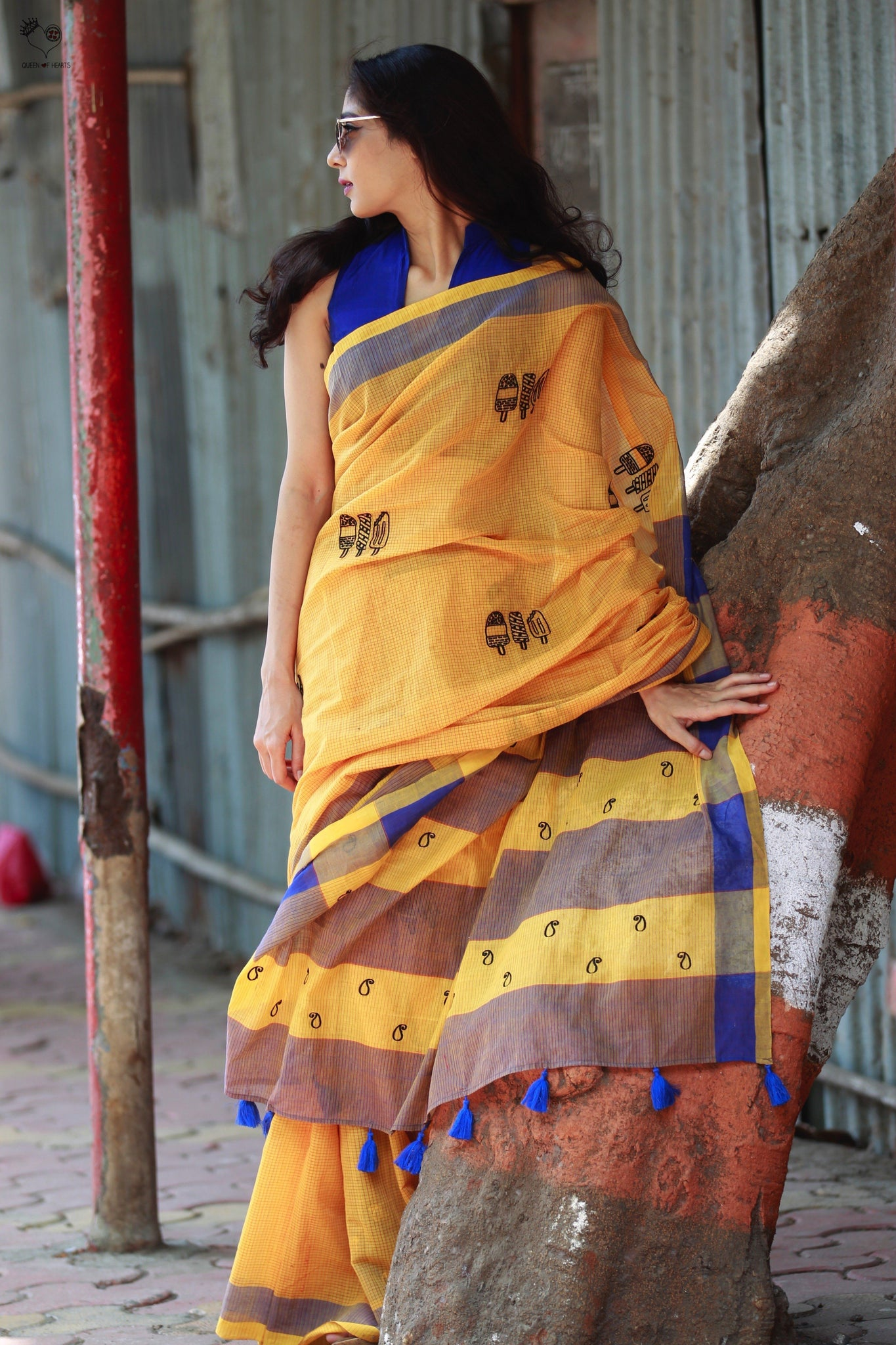Fire Yellow Blue Handloom Cotton Ice Candy Saree