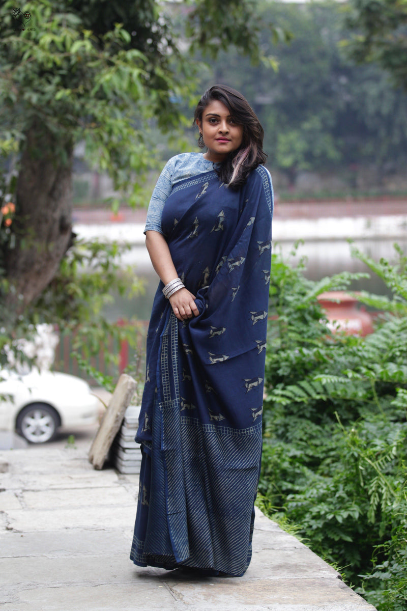 Indigo Rocket Hand Block Printed Silk Cotton Chanderi Saree