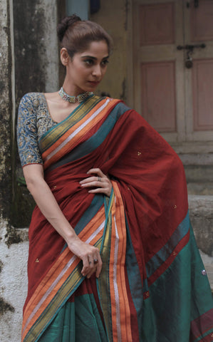 The QoH Kaleidoscope Saree - Maroon/Green