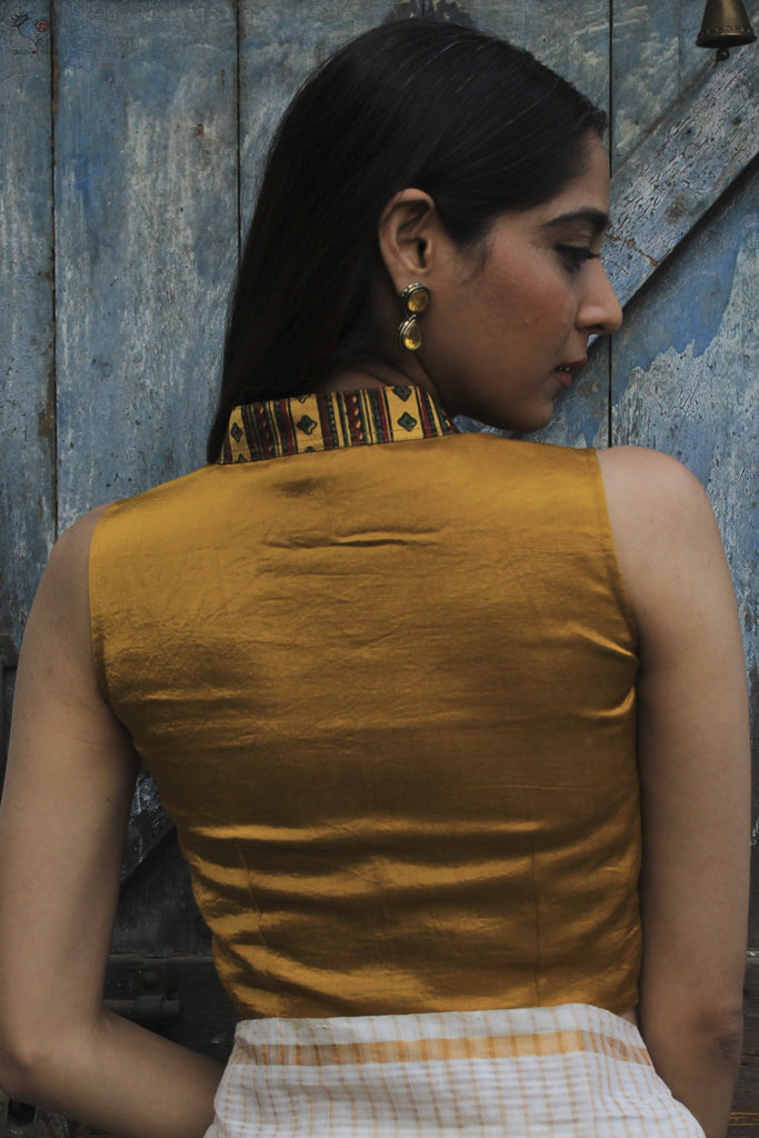 Mashru Cotton/Silk Blouse Golden Yellow