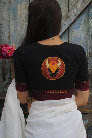 Bull Handloom Cotton Blouse Jet Black