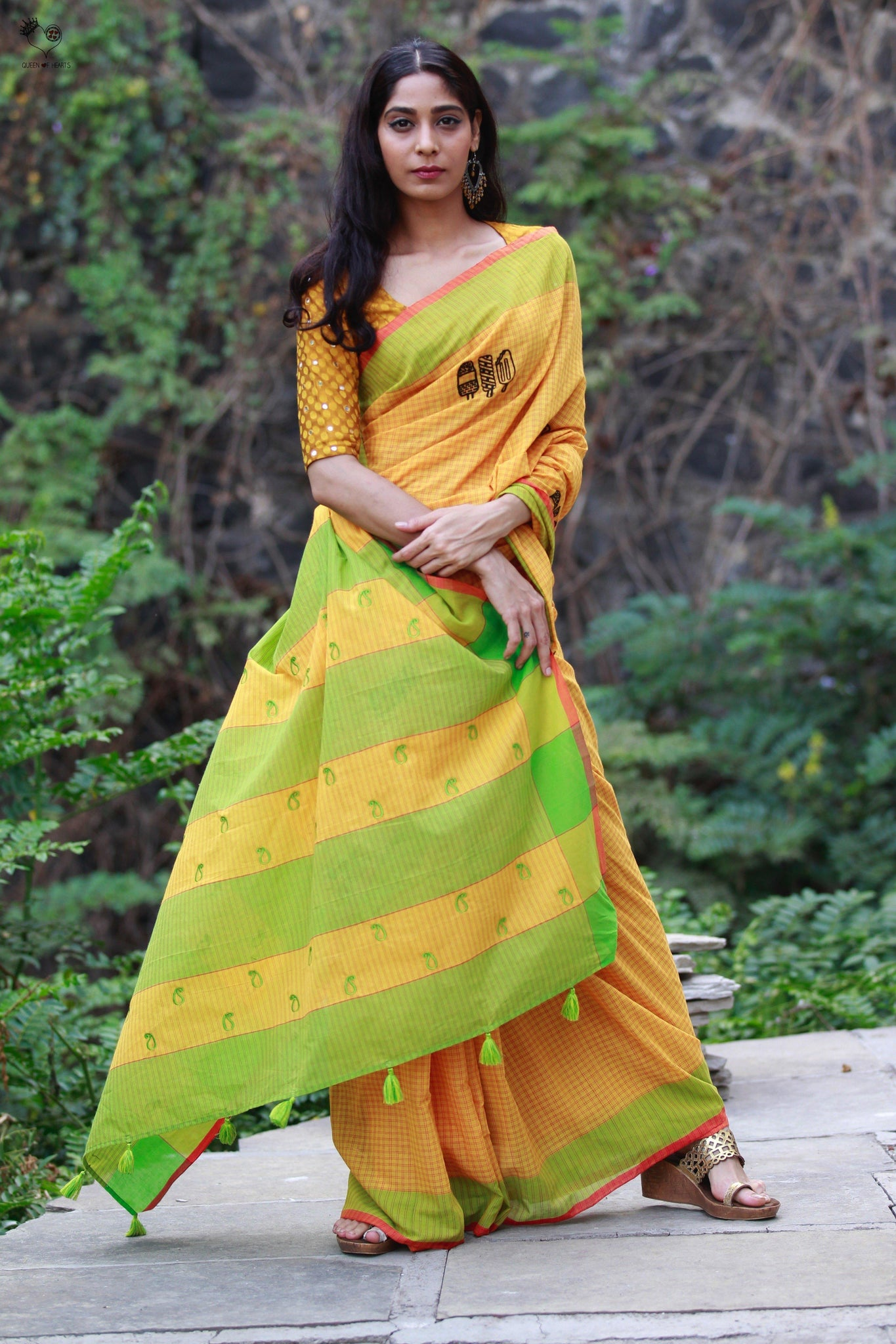 Fire Yellow Green Handloom Cotton Ice Candy Saree
