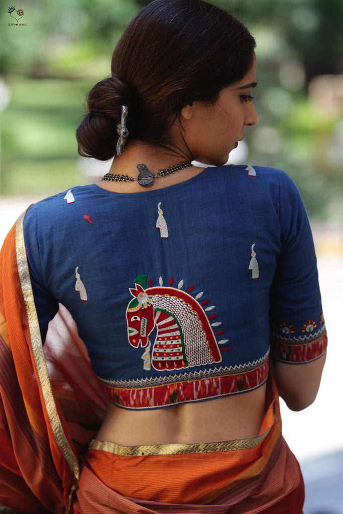 Indigo Blue Handloom Cotton KalaGhoda Blouse