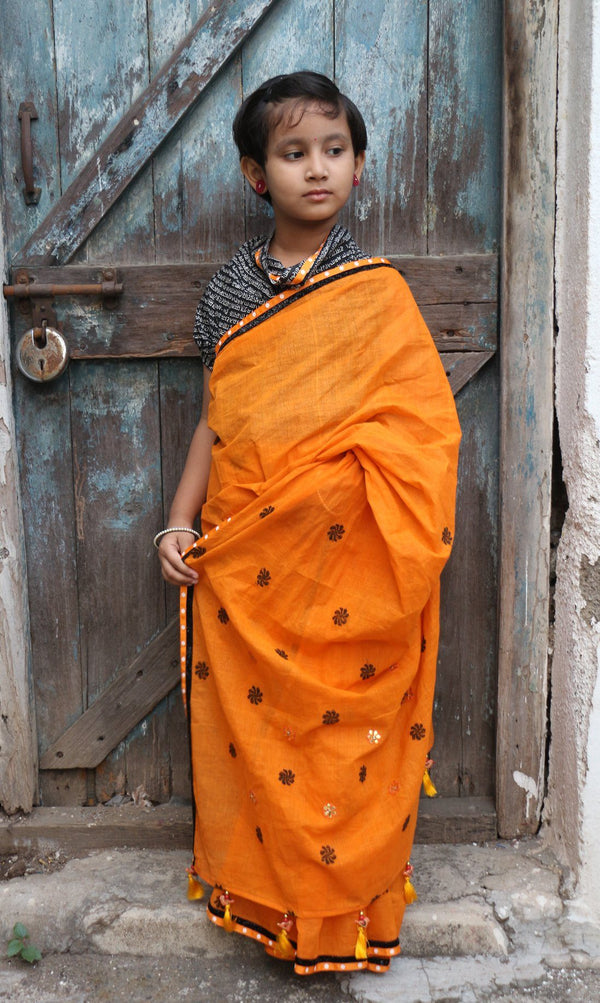 My First Saree - Bright Orange/Black