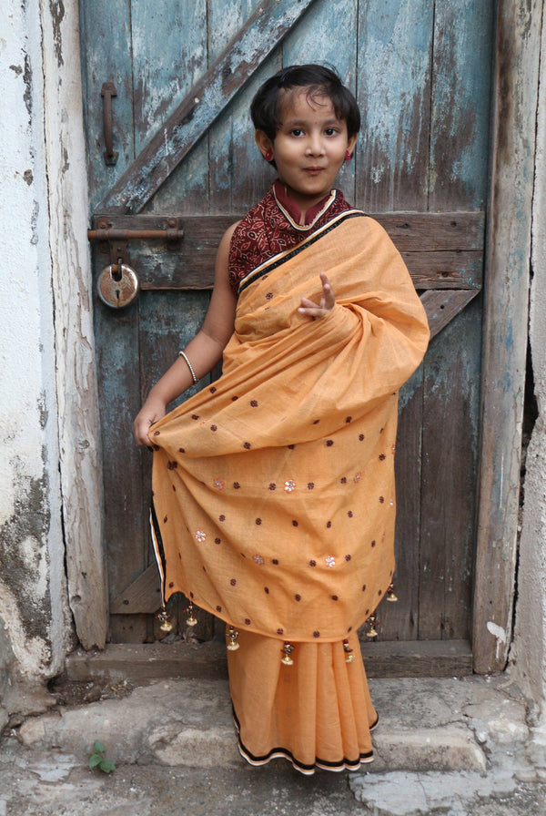My First Saree - Pumpkin Orange/Brown