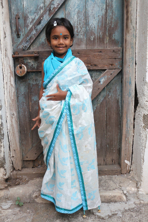My First Saree - Blue/White