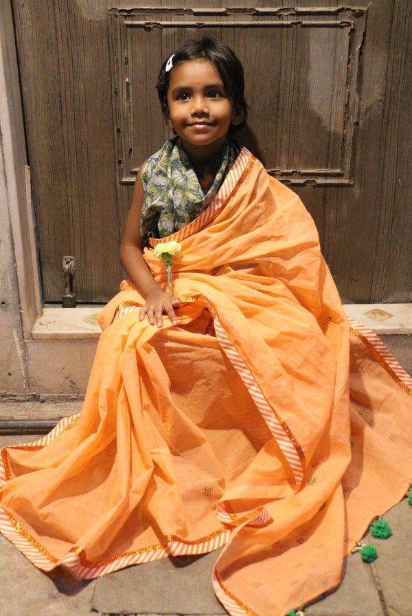My First Saree - Melon Orange/ Floral Blue Green