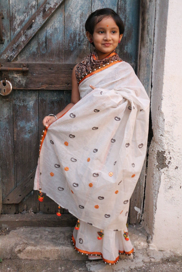 My First Saree - White/Brown